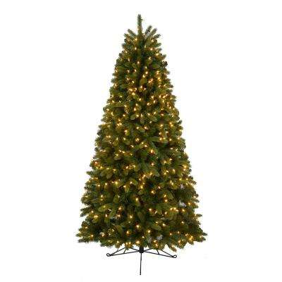 7 ft. Pre-Lit LED Hayden Fir Half Artificial Christmas Tree with 350 Warm White Lights