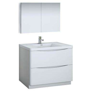 Tuscany 40 in. Modern Bathroom Vanity in Glossy White with Vanity Top in White with White Basin, Medicine Cabinet