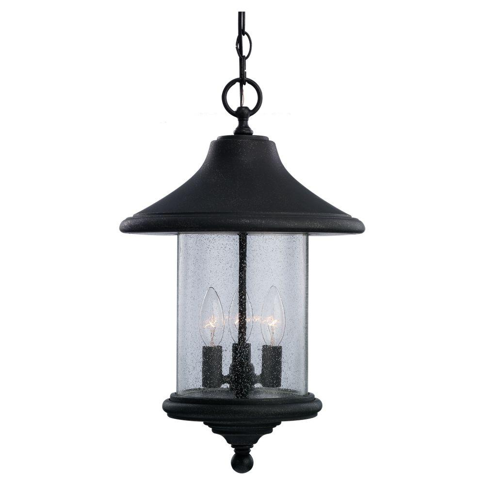 Sea Gull Lighting Berkley Hill 3-Light Outdoor Forged Iron Pendant Fixture-DISCONTINUED