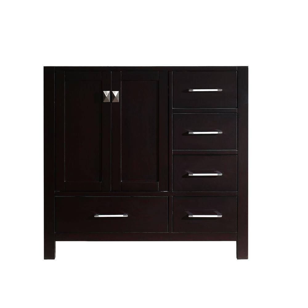 Virtu USA Caroline Avenue 35.2 in. W x 21.65 in. D x 33.46 in. H Vanity Cabinet in Espresso