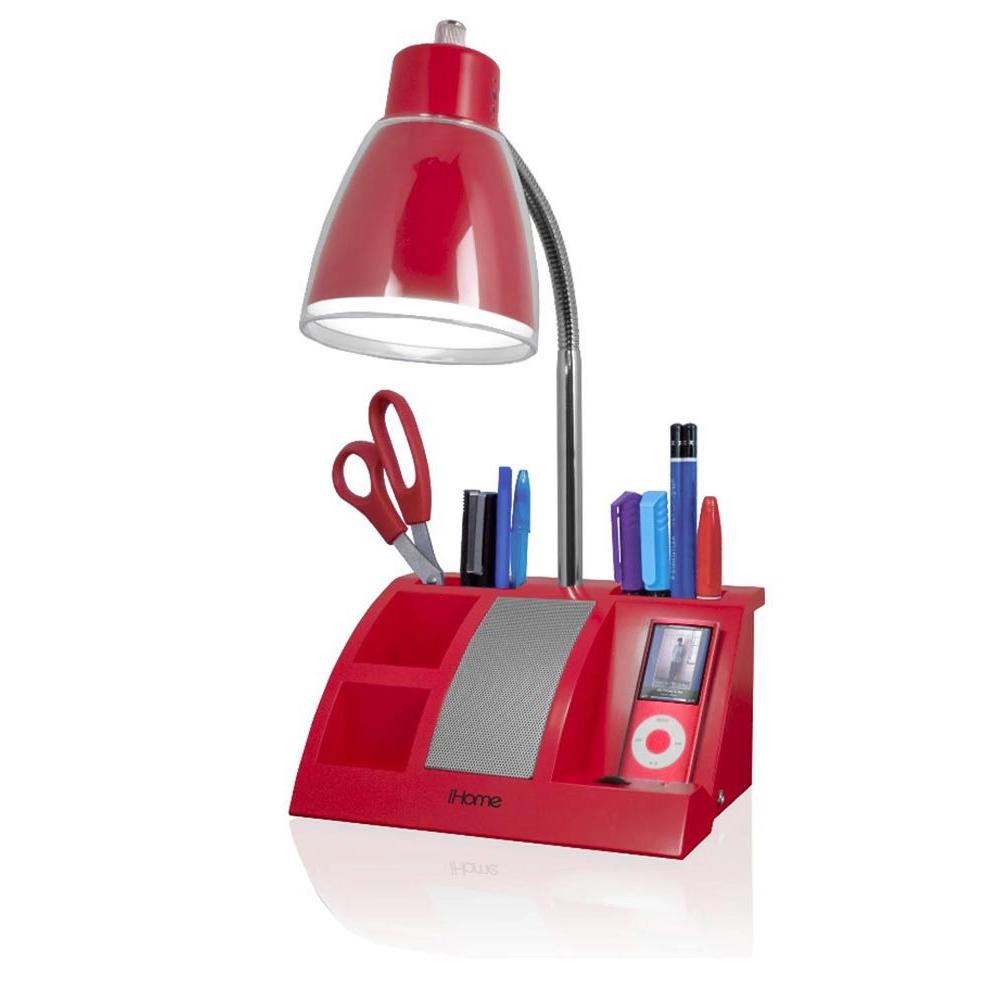 iHome 19 in. Red MP3 Organizer Lamp-DISCONTINUED