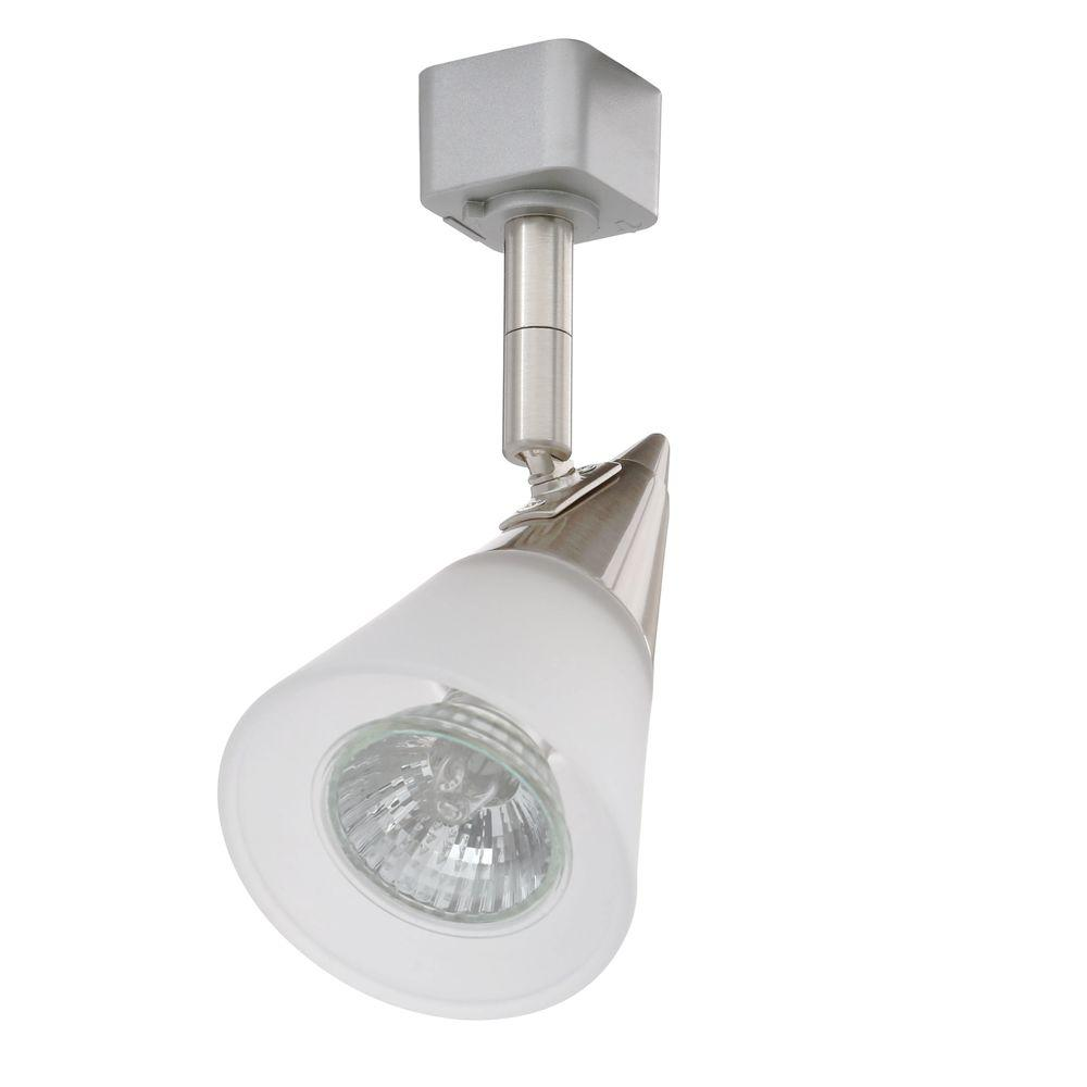 Glass cone gu10 satin chrome track lighting head