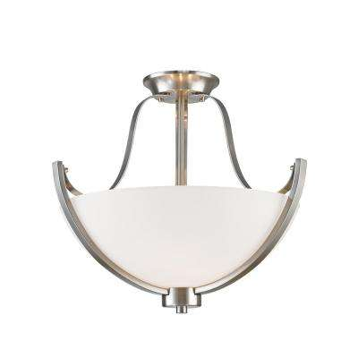 Goya 3-Light Brushed Nickel Semi-Flushmount