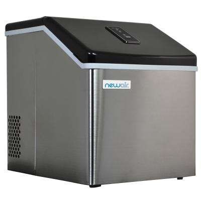40 lb. Countertop Clear Freestanding Ice Maker in Stainless Steel