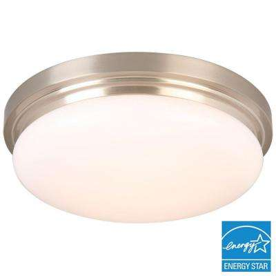 15 in. 225-Watt Equivalent Brushed Nickel Integrated LED Flushmount with Frosted Glass Shade