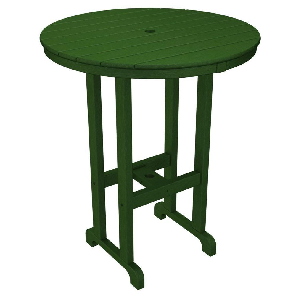 La Casa Cafe Green 36 in. Round Plastic Outdoor Patio Bar