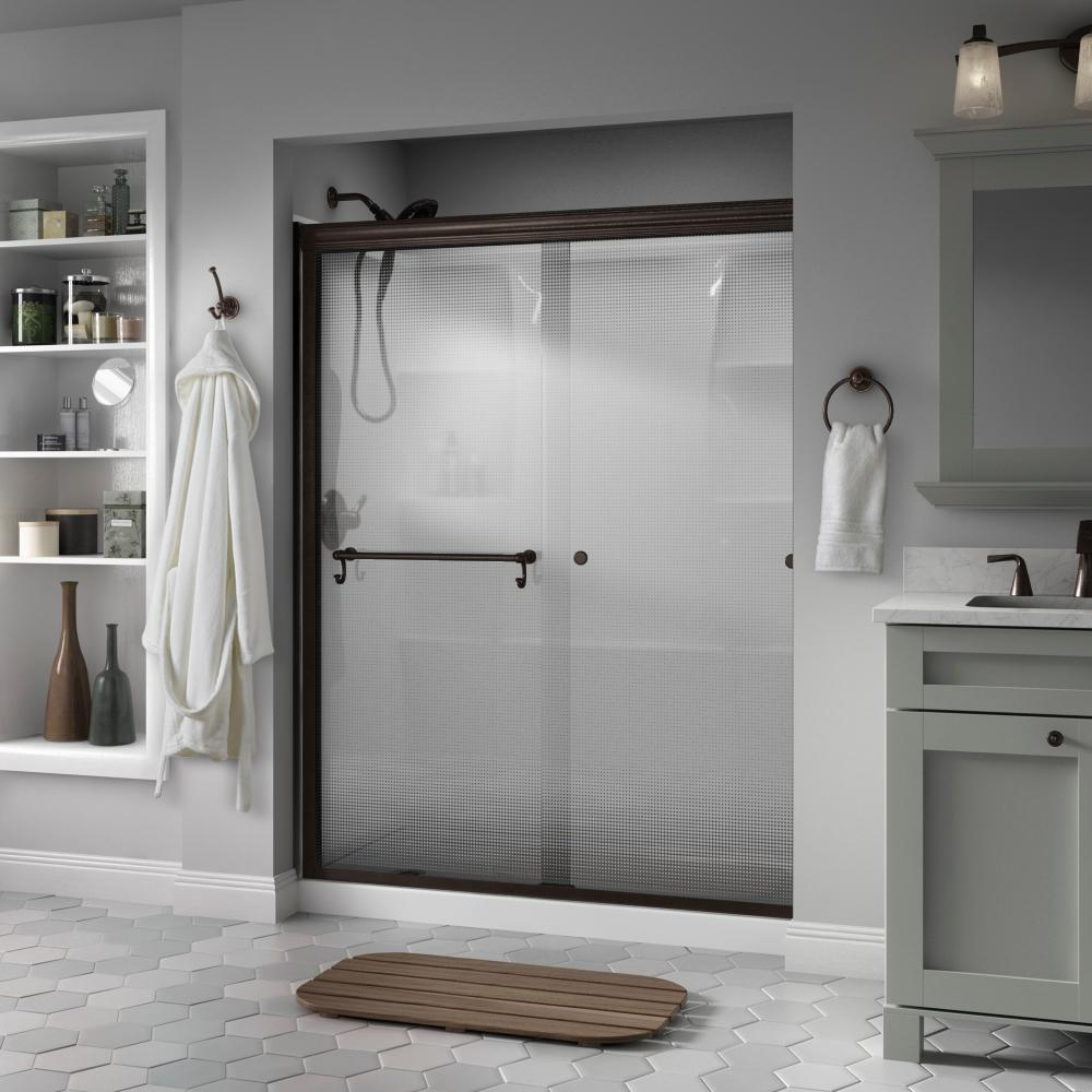 Delta Portman 60 in. x 70 in. Semi-Frameless Traditional Sliding Shower Door in Bronze with Droplet Glass was $460.0 now $369.0 (20.0% off)