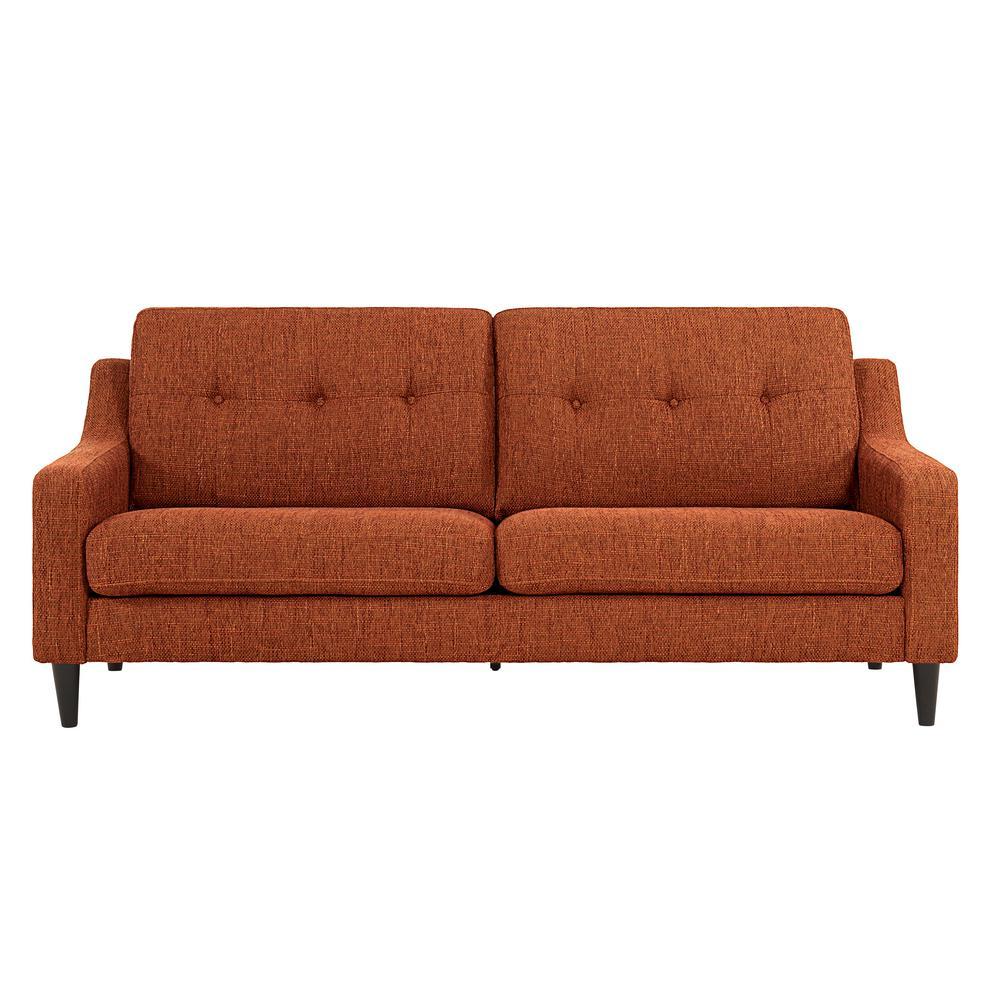 Handy Living Regina Orange Tweed Scooped Arm Sofast Sofa