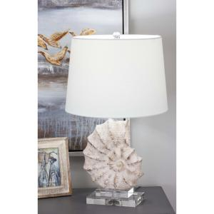 24 In Coastal Living Polystone And Gl Sea Snail Table Lamp