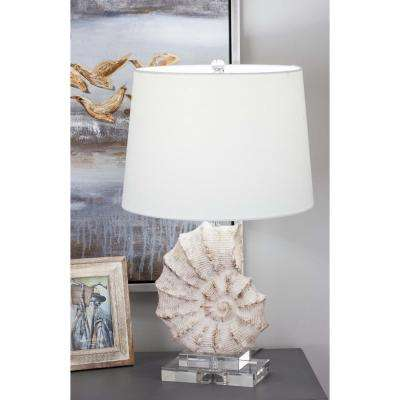 24 in. Coastal Living Polystone and Glass Sea Snail Table Lamp