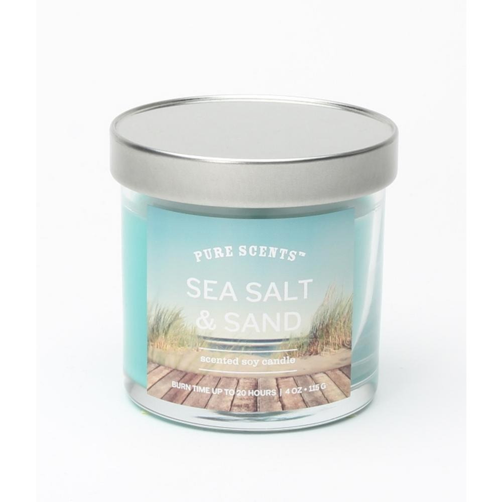Pure Scents 4 oz  Sea Salt and Sand Scented Candle