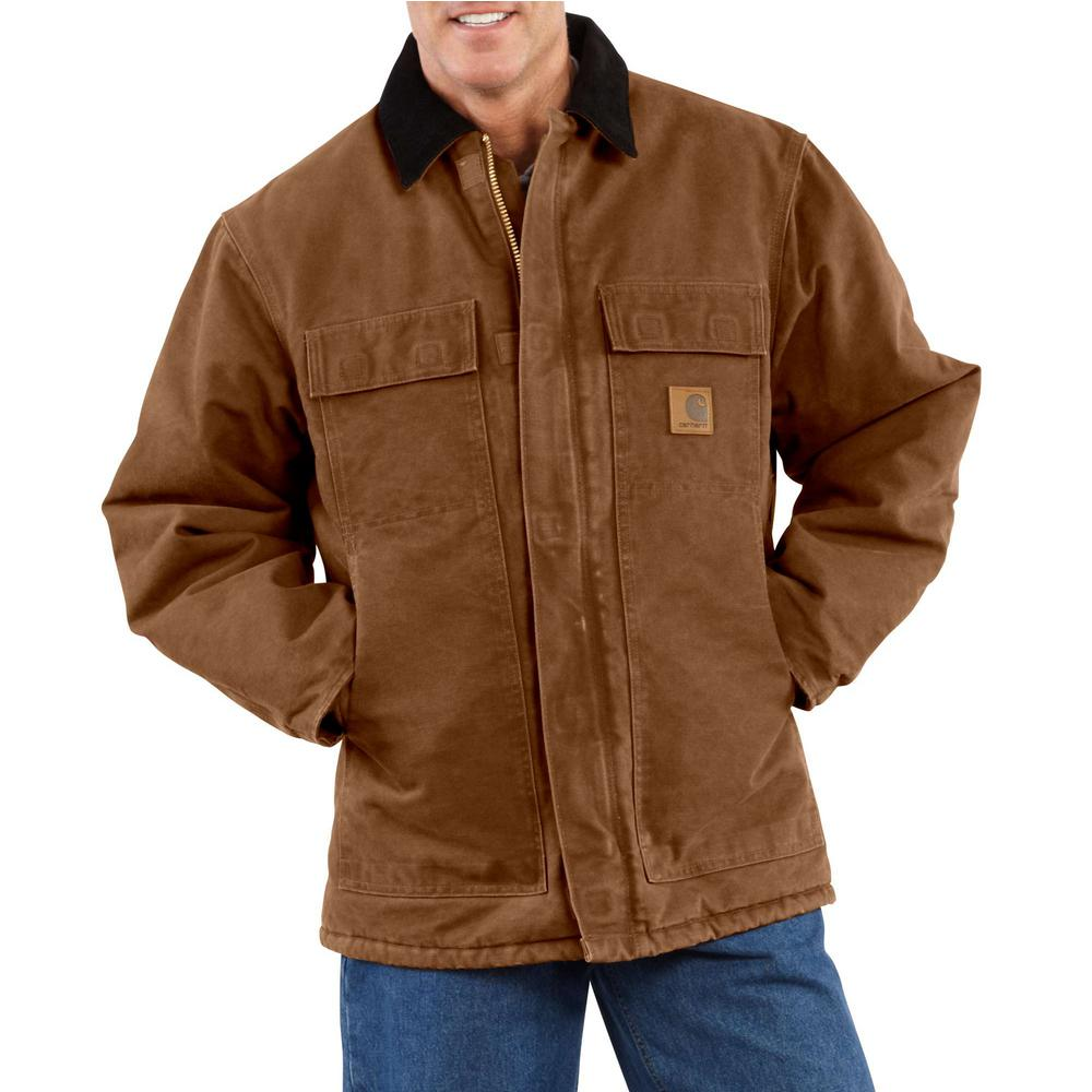 Men's Large Carhartt Brown Cotton AQL Sandstone Traditional Coat