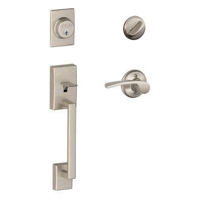 Century Satin Nickel Single Cylinder Deadbolt with Right Handed Merano Lever Door Handleset