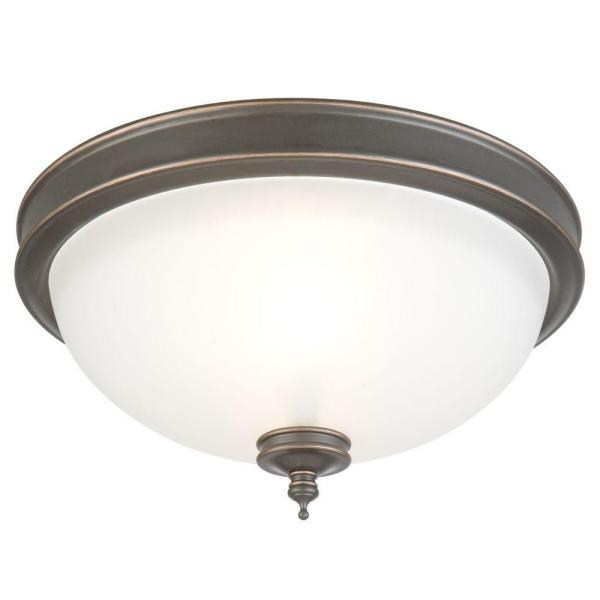 13 in. 2-Light Oil Rubbed Bronze Flush Mount with Frosted Glass Shade