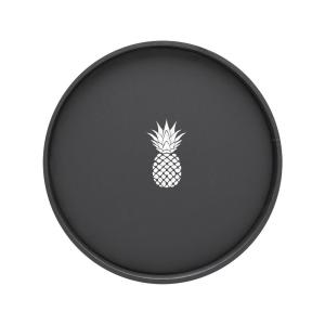 Kraftware Kasualware Pineapple 14 inch Round Serving Tray in Black by Kraftware