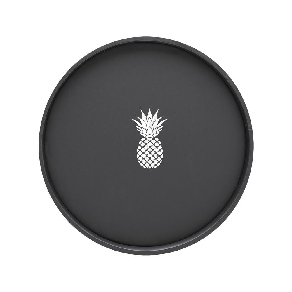 Kraftware Kasualware Pineapple 14 inch Round Serving Tray in Black by Kraftware