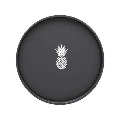 Kasualware Pineapple 14 in. Round Serving Tray in Black