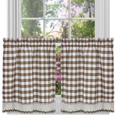 Semi-Opaque Buffalo Check Taupe Rod Pocket Tier Pair with Macrame Trim