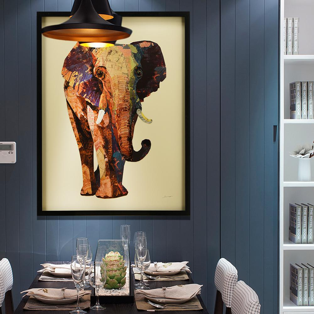 "30 in. x 40 in.""Elephant"" Hand Made Art Collage by Alex"