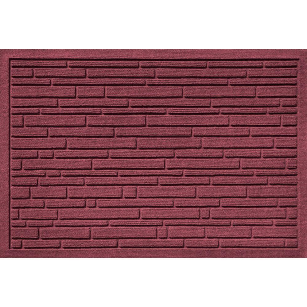 Aqua Shield Broken Brick Bordeaux 17.5 in. x 26.5 in. Door Mat