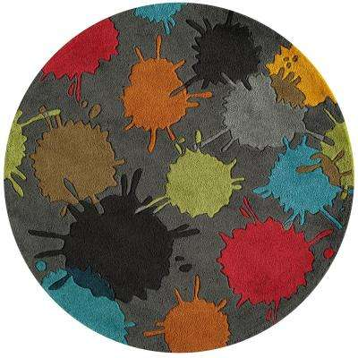 Young Buck Collection Grey 5 ft. x 5 ft. Indoor Round Area Rug