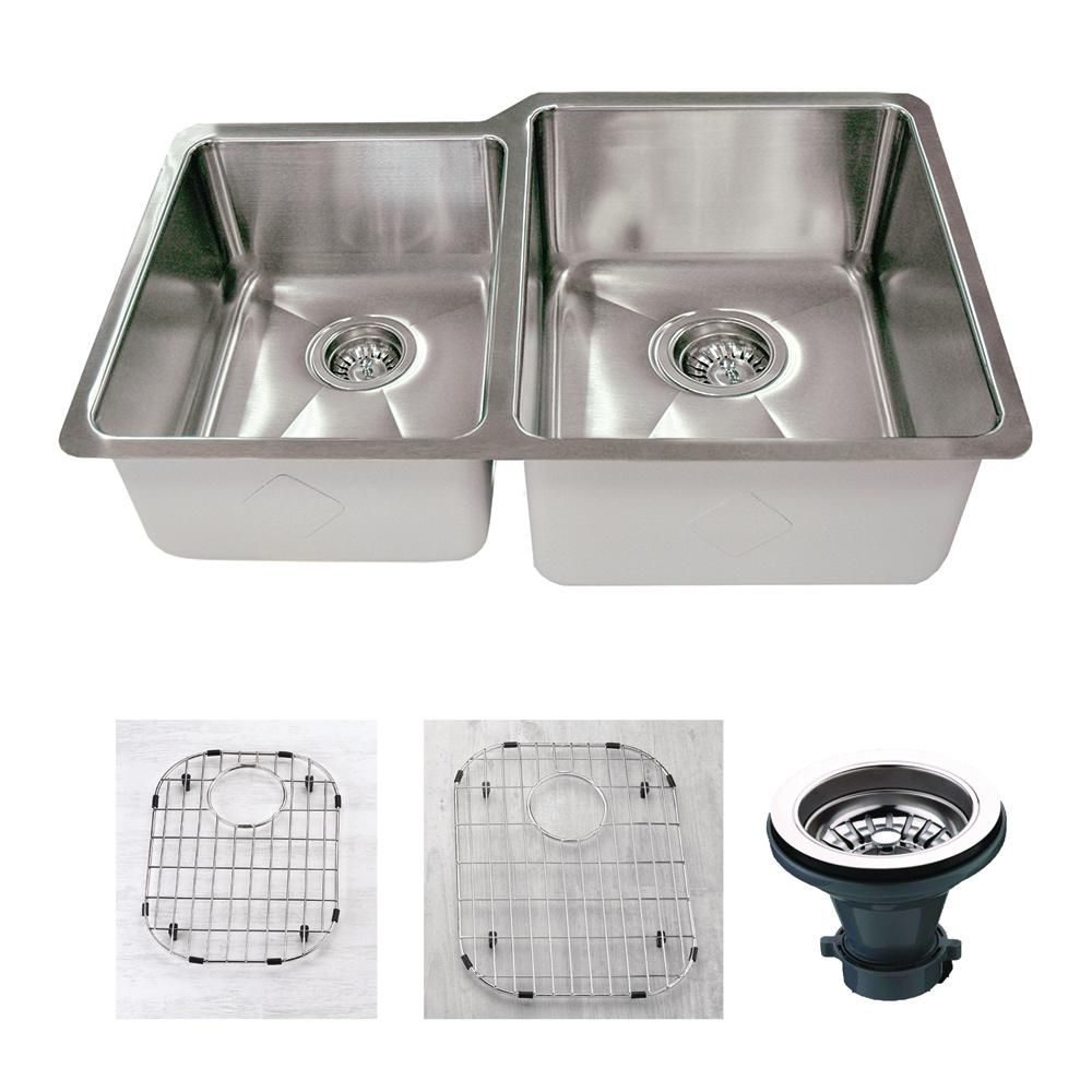 Empire Industries Premium Undermount 18-Gauge Stainless Steel 32 in. 45/55 Double Bowl Kitchen Sink with Grid and Strainer, Satin was $275.0 now $185.12 (33.0% off)