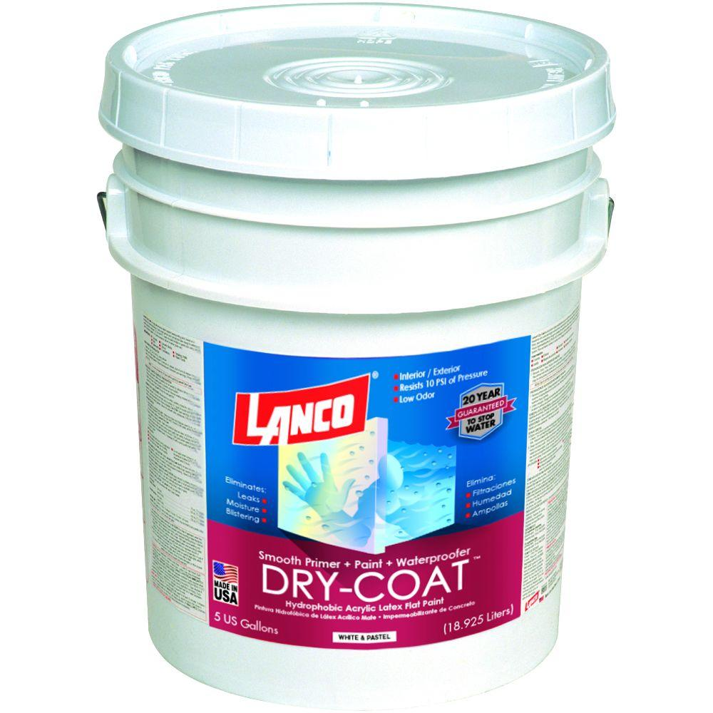 Lanco Dry Coat 5 Gal White And Pastel Flat Acrylic Latex Interior And Exterior Smooth Masonry