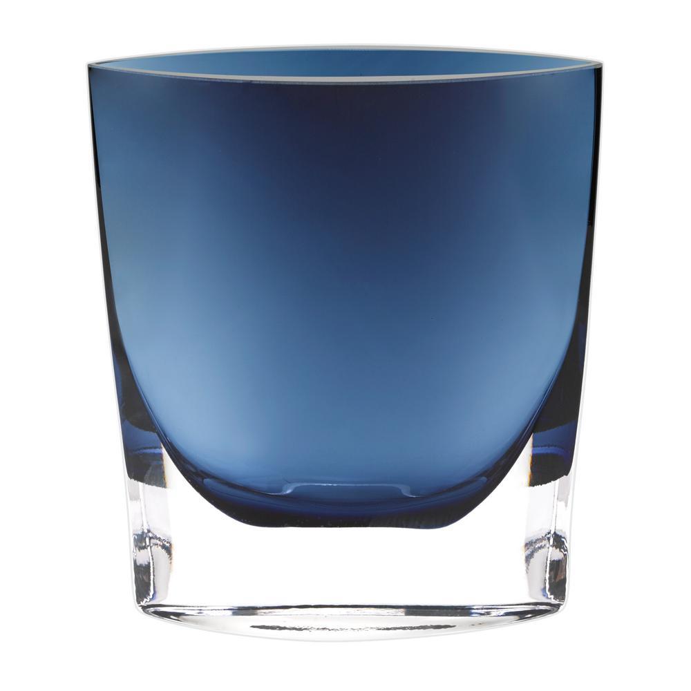 8 in. Samantha Midnight Blue European Mouth Blown Thick Walled Decorative Vase