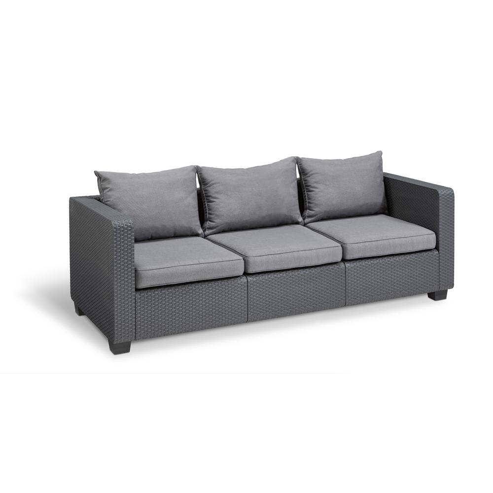 Keter Salta Graphite Resin 3 Seat Plastic Outdoor Sofa With Flanelle Cushions