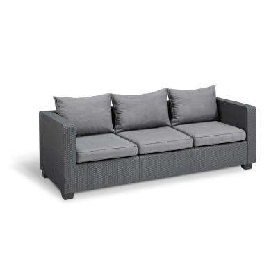 Salta Graphite Resin 3-Seat Plastic Outdoor Sofa with Flanelle Cushions