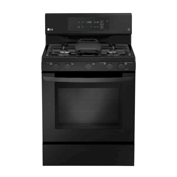LG Electronics 5.4 cu. ft. Gas Range with Even Jet Fan Convection Oven in Matte Black Stainless Steel