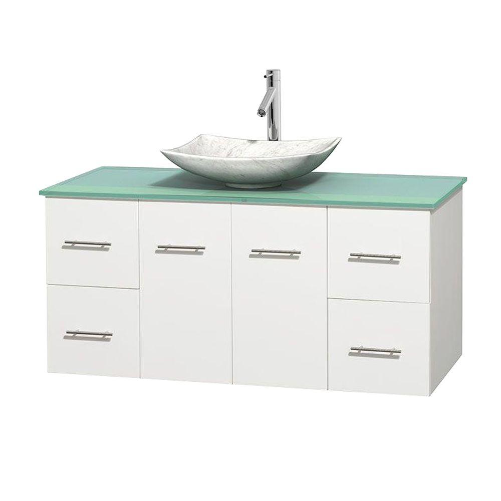 Wyndham Collection Centra 48 in. Vanity in White with Glass Vanity Top in Green and Carrara Sink