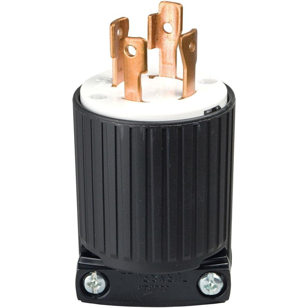 Peachy Eaton 30 Amp 125 250 Volt 4 Wire Twist Lock Plug Black L1430P The Wiring Database Gramgelartorg