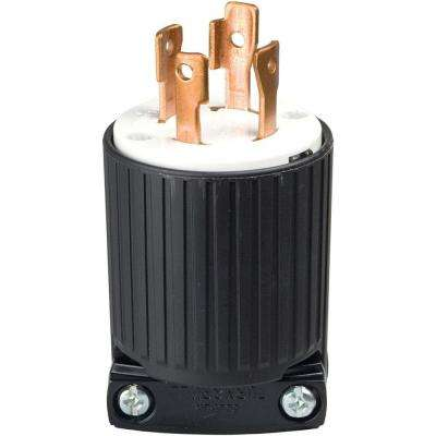 30 Amp 125-250-Volt 4-Wire Twist Lock Plug, Black