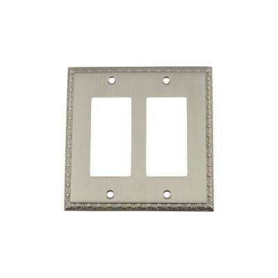 Egg and Dart Switch Plate with Double Rocker in Satin Nickel