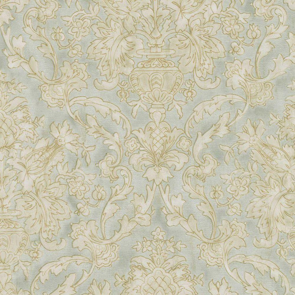 Majestic Mint Scrolling Damask Wallpaper