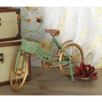 18 in. x 12 in. Muddy Gold Iron Vintage Bicycle Model Decor with Green Beads