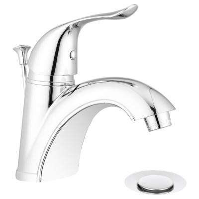 Quincy 4 in. Centerset Single-Handle Arc Spout Bathroom Faucet with Pop-Up Drain Assembly in Chrome