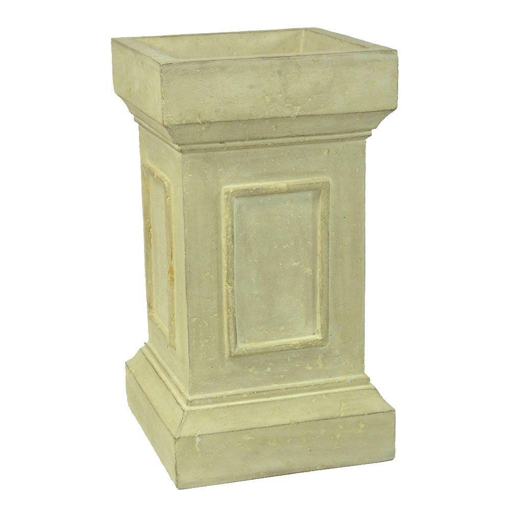 MPG 12 in. Square Limestone Cast Stone Medici Pedestal or Planter