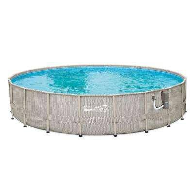 20 ft. Round 48 in. D Light Wicker Print Elite Metal Frame Pool with SFX SkimmerPlus Filter Pump
