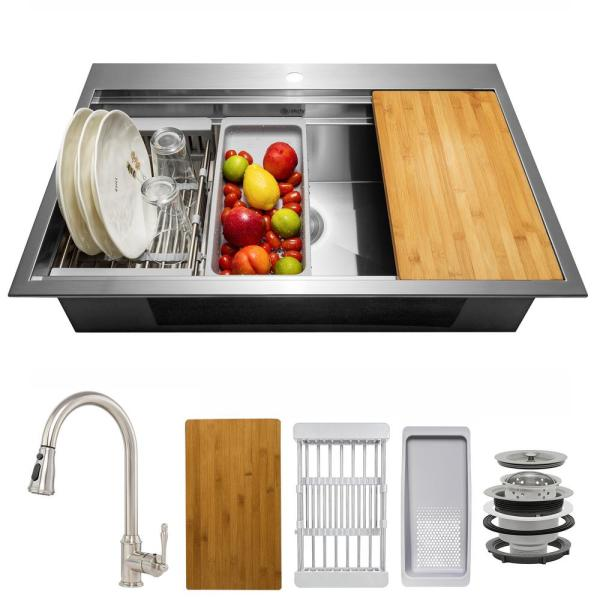 Handmade All-in-One Topmount Stainless Steel 33 in. x 22 in. Single Bowl Kitchen Sink w/ Pull-down Faucet, Accessory