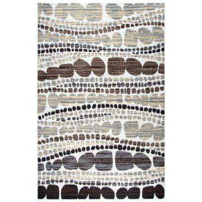 Xcite Ivory Abstract Machine Made 5 ft. 2 in. x 7 ft. 3 in. Area Rug
