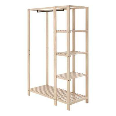 20.13 in. D x 44 in. W x 68 in. H Natural Wood Freestanding 4-Shelf Closet System