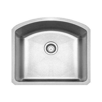 Noah's Collection Undermount Brushed Stainless Steel 23.25 in. 0-Hole Single Bowl Kitchen Sink