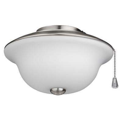 Frosted White Glass Traditional Bowl Ceiling Fan Light Kit with Brushed Steel Trim