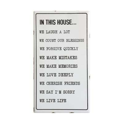"""20 in. x 36 in. """"In This House"""" Black and White Metal Wall Art"""
