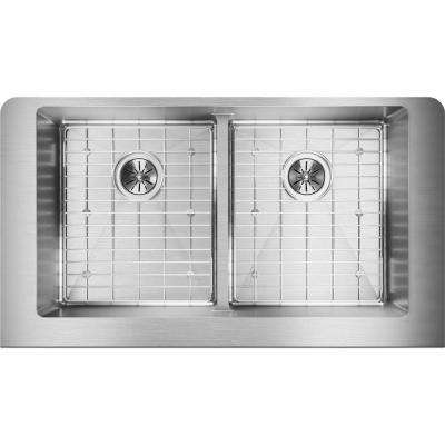 Crosstown Farmhouse Apron Front Stainless Steel 32 in. Double Bowl Kitchen Sink Kit