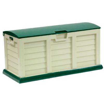 60 Gal. Plastic Beige/Green Deck Box with Dome Lid