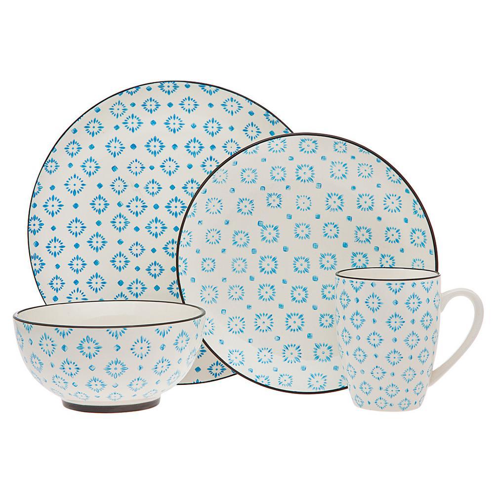 16-Piece Patterned Blue Porcelain Dinnerware Set (Service for 4)