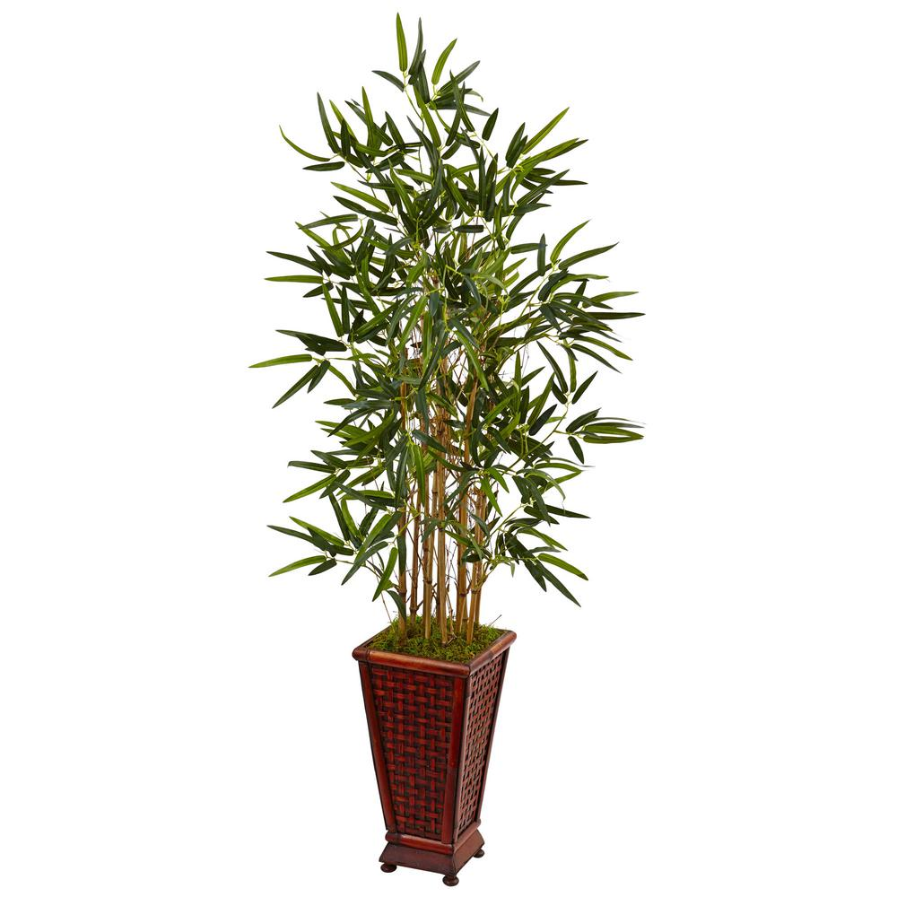 Nearly Natural Indoor Bamboo Artificial Tree in Decorative Planter ...